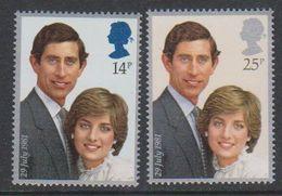 Great Britain 1981 Royal Wedding 2v ** Mnh (38900G) - 1952-.... (Elizabeth II)