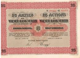 Ancienne Action - Wiener Bank-Verein - Titre De 1927 - Banque & Assurance