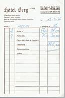 Ancienne Facture De L'Hôtel Berg, Avenue Saint-Rémy, Forbach (12/4/76) - Alimentaire