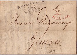 """ITALIE - Rau D'ITALIE / PAR / GENES - MILANO - LE 9 JUIN 1813 - LETTRE AVEC TEXTE ET SIGNATURE """"GUIS. ANT. BATTAGLIA"""" - Marcophilie (Lettres)"""