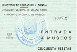 Ancien Ticket D'entrée Entrada A Museos Au Musée Du Prado (Madrid) Vers 1970 - Tickets D'entrée