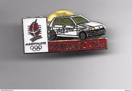PINS Automobile Renault Clio Blanche Vive Le Sport Jeux Qlympiques Albertville /  Signé COJO 1991 Base Argentée / 33NAT - Renault