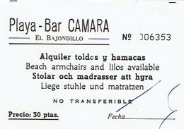 Ancien Ticket D'entrée Playa Bar Camara El Bajondillo Torremolinos (années 1970) - Tickets D'entrée