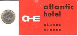 ETIQUETA DE HOTEL  -  ATLANTIC HOTEL  -ATHENS (ATENAS)  GRECIA - Hotel Labels