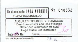 Ancien Ticket D'entrée Restaurant Casa Antonio Playa Bajondillo Torremolinos (années 1970) - Tickets D'entrée