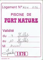 Ancien Ticket D'entrée à La Piscine De Port Nature, Cap D'Adge (1976) - Tickets D'entrée