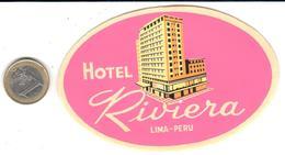 ETIQUETA DE HOTEL  - HOTEL RIVIERA - LIMA  -PERU - Hotel Labels