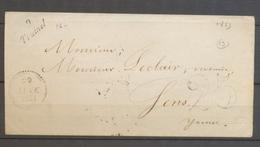 1853 Lettre Taxe 25c Avec Cursive 9 Trainel AUBE(9) X2872 - Marcophilie (Lettres)