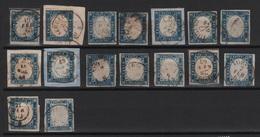 1863 15 C. Azzurro Lotto 16 Pezzi Belli US O Su Frammento ++++ - 1861-78 Vittorio Emanuele II