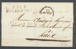 1830 Lettre Marque P16P ROCHEFORT 46*11mm CHARENTE INFRE(16) Superbe X2925 - 1801-1848: Vorläufer XIX