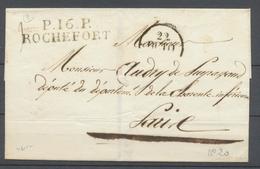 1830 Lettre Marque P16P ROCHEFORT 46*11mm CHARENTE INFRE(16) Superbe X2925 - Storia Postale
