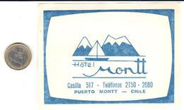 ETIQUETA DE HOTEL  -HOTEL MONTT  - PUERTO MONTT  -CHILE - Hotel Labels