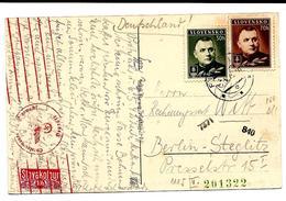 N° 44-45A S/CP De Bad Piestany Datée De PRITYAH + T. Slovkotour 10h V. Berlin - Censure Allemande Mécanique Rouge.. TB - Slovakia