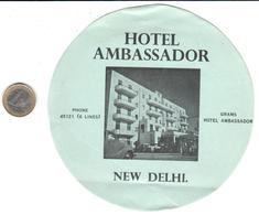 ETIQUETA DE HOTEL     HOTEL AMBASSADOR  - NEW DELHL  -INDIA - Hotel Labels