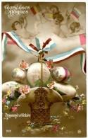 Glorieuses Pâques. Patriotique. Renommée Et Victoire. Oeufs, Fleurs Et Drapeaux. Envoyée En 1916. - Pâques