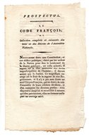 """PROSPECTUS . """" Le Code François """" . On Souscrit à Saintes, Chez Delys, Libraire - Réf. N°72F - - Documents Historiques"""