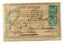 SAGE YT N°64+65 Sur  CARTE PRECURSEUR /  Cad PARIS RUE DU PONT NEUF /  Dept 60 SEINE / Sept 1876 - 1849-1876: Classic Period