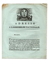 ADRESSE À L'ASSEMBLÉE NATIONALE . ÉLECTEURS DE CHARENTE INFÉRIEURE . À SAINTES, CE 21 JUIN 1790 - Réf. N°74F - - Documents Historiques