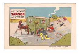 Publicité Pub Jantes Amovibles Samson Illustration Illustrateur Marcel Bloch Jante Amovible Pneu Roulotte Cheval - Reclame