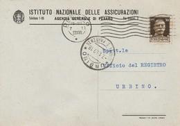 Pesaro. 1939. Annullo Meccanico Su Cartolina Postale Privata, Affrancata Con C.50 Imperiale - Storia Postale