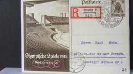 """DR 33-45: R-Gs-Karte 6+4 Pf Mit So-R-Zettel Ausstellung BM Dresden 1 (940) Rs. Bl. """"Braunes Band"""" V. 7.8.36 Knr: Bl.4 - Deutschland"""