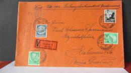 DR 33-45: V-Doppel-Fern-Brief Mit OSt. Nürnberg 10 Wert 1700 RM Vom 16.11.39 Nach Rabenau - 100Pf Flugpost- Knr: 537 Ua - Deutschland