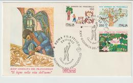 345-Storia Postale-Marcofilia-Tema:Filatelia-Disegni Bambini-Lavoro Legno-Annullo Speciale Roma  1982 Su F.D.C.Roma - 6. 1946-.. Repubblica