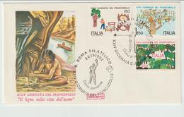 346-Storia Postale-Marcofilia-Tema:Filatelia-Disegni Bambini-Lavoro Legno-Annullo Speciale Roma  1982 Su F.D.C.Roma - 6. 1946-.. Repubblica