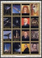 7703 Ajman 1972 History Of Space Perf Set Of 8 (plus 8 Labels) Cto Used, Mi 2781-88A - Space