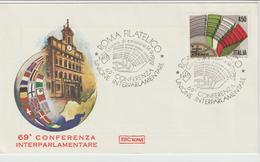 351-Storia Postale-Marcofilia-Tema:Conferenza Interparlamentare-Annullo Speciale Roma 1982 Su F.D.C.Roma - 6. 1946-.. Repubblica