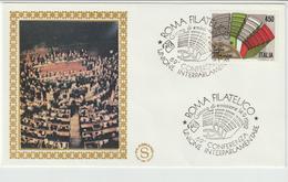 352-Storia Postale-Marcofilia-Tema:Conferenza Interparlamentare-Annullo Speciale Roma 1982 Su F.D.C.Filagrano - 6. 1946-.. Repubblica