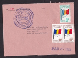 Chad: Airmail Cover To Netherlands, 3 Official Service Stamps, No Cancel (damaged: Opened At 3 Sides) - Tsjaad (1960-...)