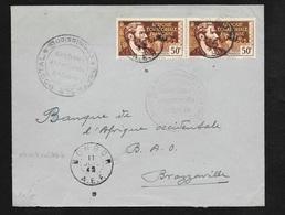 Guerre 1939/45 AEF Pli Bongor 11/07/1942 N°107  X2   Pour Brazzaville Via Ft Lamy Double Contrôle FFL Rare Et TB - Lettres & Documents