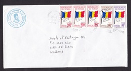 Chad: Cover To Netherlands, 1993, 5 Official Service Stamps, 3 Values, Rare Real Use (traces Of Use) - Tsjaad (1960-...)