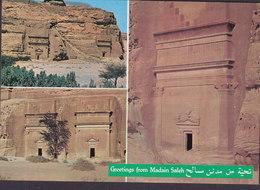Saudi Arabia PPC Greetings From Madain Salah (2 Scans) - Saudi-Arabien