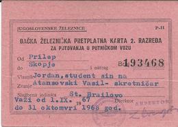 Transportation Tickets > Season Ticket 1967/68 From Yugoslavia,Macedonia - Children's Railroad Ticket - Week-en Maandabonnementen