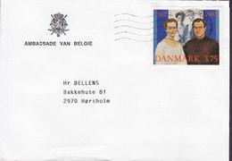 Denmark AMBASSADE VAN BELGIE, KØBENHAVN 1992 Cover Brief HØRSHOLM Royal Siver Wedding Stamp - Dänemark