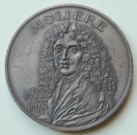 Médaille - Molière 1622 - 1673 Le Malade Imaginaire Poinçon Monnaie De Paris Et 1973 Argent 1 1973 Gravé Sur La Tranche - Royaux / De Noblesse
