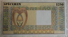 Spécimen 1250 Afrique Occidentale Française 171x92mm Francs CFA 1990 Filigrané - Specimen