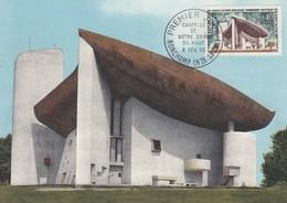 FRANCE CARTE MAXIMUM CHAPELLE NOTRE DAME DU HAUT- LE CORBUSIER  - PREMIER JOUR 6.2.1965 RONCHAMP HAUTE SAÔNE  /2 - 1960-69
