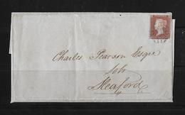 1843 Great Britain → 1d Red Imperf Barton-on-Humber Maltese Cross Cover-Sleaford ►RRR◄ - 1840-1901 (Victoria)
