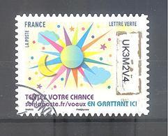 France Autoadhésif Oblitéré N°1496(Timbres De Voeux) (cachet Rond) - France