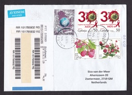 Serbia: Registered Airmail Cover To Netherlands 2011, 5 Stamps, HIV Aids Virus, Berries, Internet, Label (traces Of Use) - Servië