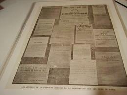 AFFICHE LES AFFICHES DE LA PREMIERE SEMAINE DE MOBILISATION MURS DE PARIS 1914 - 1914-18