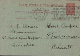 Entier Petain 80c  Carte Postale Commerciale Cachet Chambre De Commerce De Paris 9 Fev 1942 CAD Paris RP Départ 10 2 42 - Standard Postcards & Stamped On Demand (before 1995)