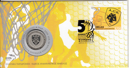 Greece - FDC, AEK BC/50 Years Cup Of European Cup Winners 1968-2018, Tirage 3000, 03/18, With Medal, Unused - Basket-ball