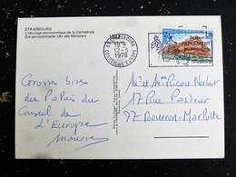 LETTRE FRANCE AVEC YT SERVICE 54 BATIMENT CONSEIL EUROPE STRASBOURG - FLAMME SESSION 1978 - HORLOGE ASTRONOMIQUE - Lettres & Documents