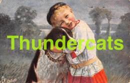 CPA ILLUSTRATEUR FILLE CHIEN RAPHAEL TUCK  ARTIST SIGNED GIRL DOG - Tuck, Raphael
