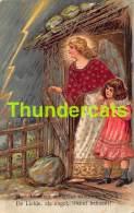 CPA EN RELIEF GAUFREE ENFANT FILLE EMBOSSED CARD GUARDIEN ANGEL GIRL - Anges