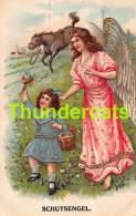CPA EN RELIEF GAUFREE ANGE FILLE CHEVAL EMBOSSED CARD GUARDIEN ANGEL GIRL HORSE - Anges
